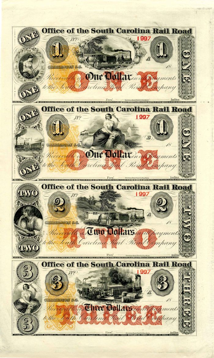 Office of the South Carolina Railroad Uncut Obsolete Sheet - Broken Bank Notes