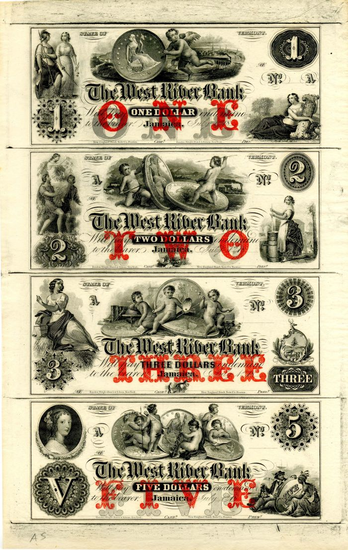 West River Bank - Uncut Obsolete Sheet - Broken Bank Notes