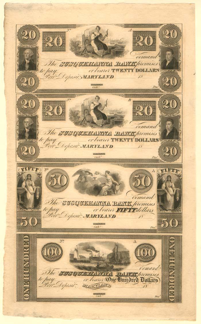 Susquehanna Bank - Uncut Obsolete Sheet - Broken Bank Notes