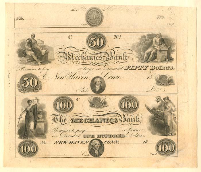 Mechanics Bank - Uncut Obsolete Sheet - Broken Bank Notes
