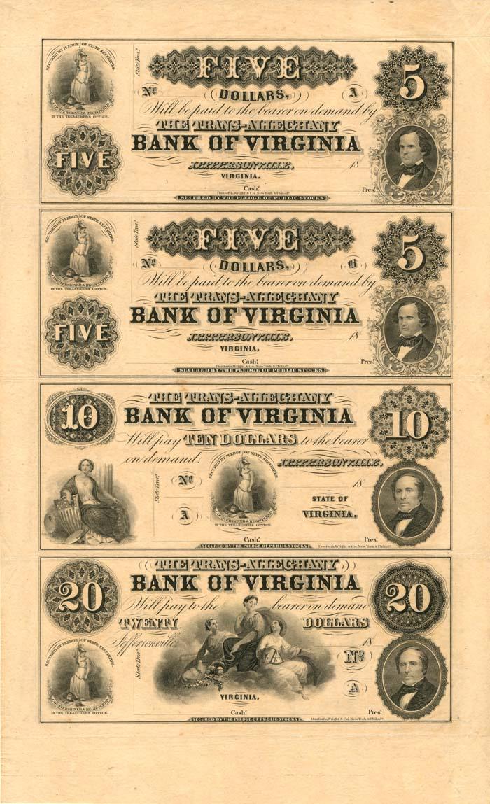 Bank of Virginia - Uncut Obsolete Sheet - Broken Bank Notes - SOLD