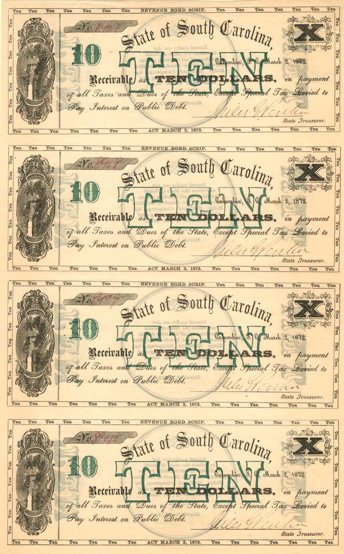 State of South Carolina - Uncut Obsolete Sheet - Broken Bank Notes