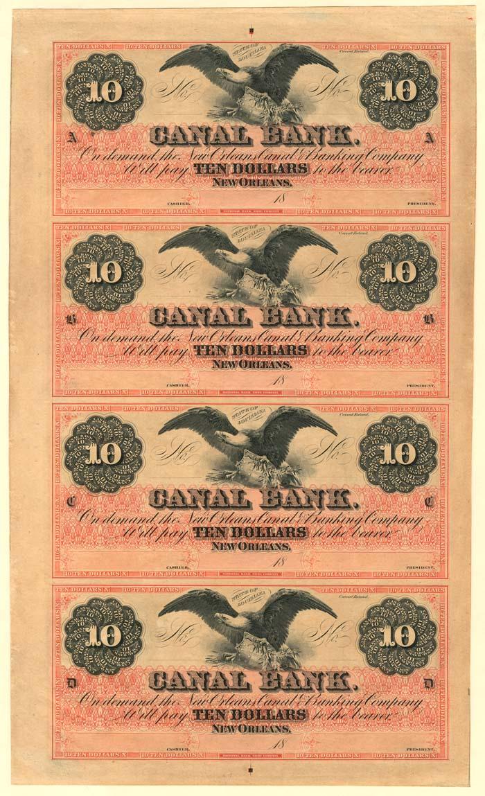 Canal Bank - Uncut Obsolete Sheet - Broken Bank Notes