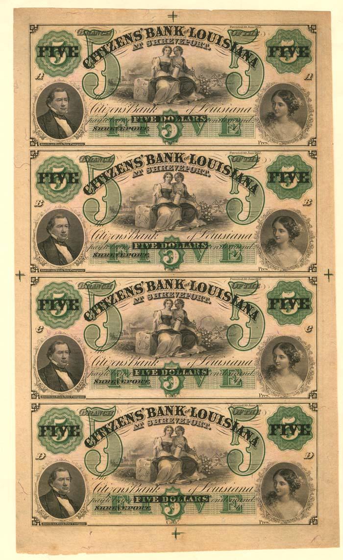 Citizens' Bank of Louisiana - Uncut Obsolete Sheet - Broken Bank Notes