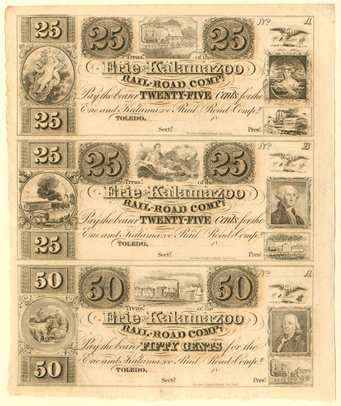 Erie and Kalamazoo Railroad Company - Uncut Obsolete Sheet - Broken Bank Notes
