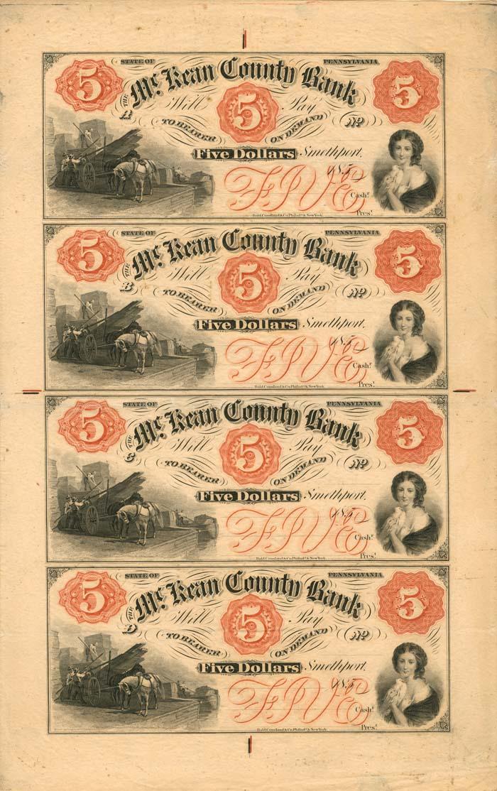 McKean County Bank - Uncut Obsolete Sheet - Broken Bank Notes
