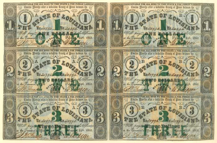 State of Louisiana - Uncut Obsolete Sheet - Broken Bank Notes - SOLD