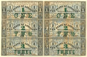 State of Louisiana - Uncut Obsolete Sheet - Broken Bank Notes - SOLD