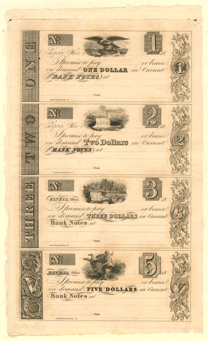 Elyria, Ohio - Uncut Obsolete Sheet - Broken Bank Notes