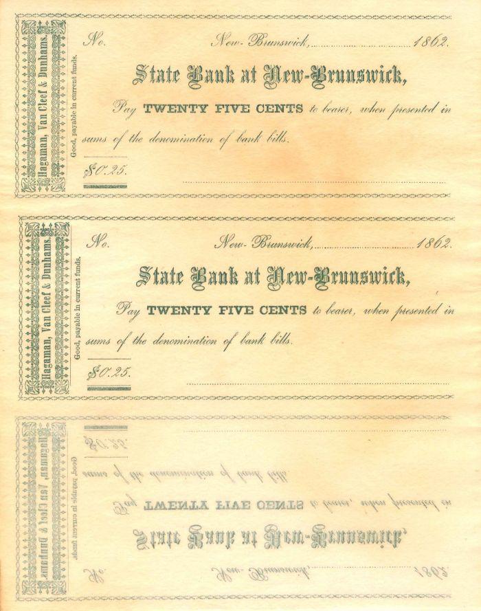 State Bank at New-Brunswick - Uncut Obsolete Sheet - Broken Bank Notes