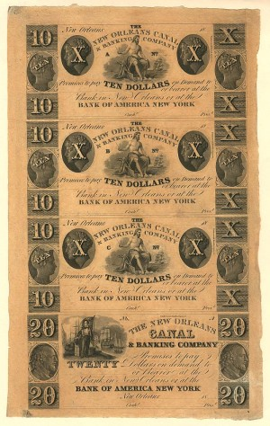 New Orleans Canal & Banking Co. - Uncut Obsolete Sheet - Broken Bank Notes