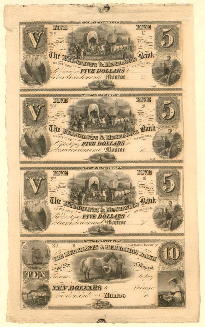 Merchants & Mechanics Bank of the City of Monroe - Uncut Obsolete Sheet - Broken Bank Notes