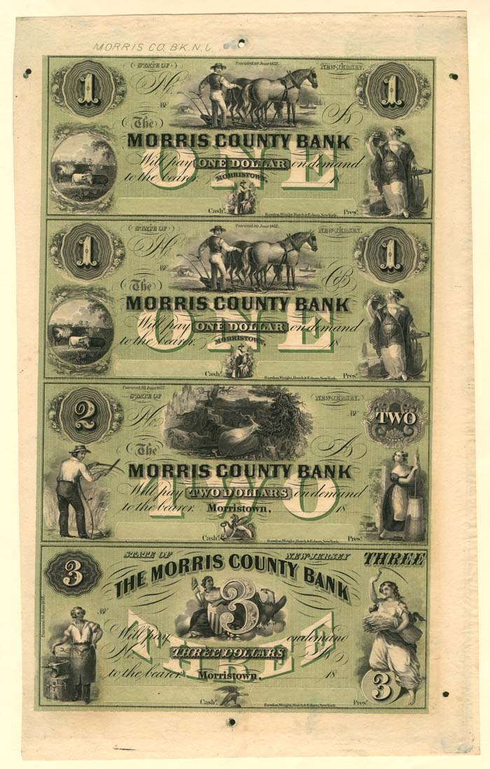 Morris County Bank - Uncut Obsolete Sheet - Broken Bank Notes