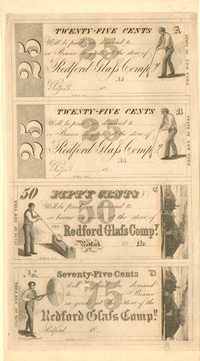 Redford Glass Company Uncut Obsolete Sheet - Broken Bank Notes