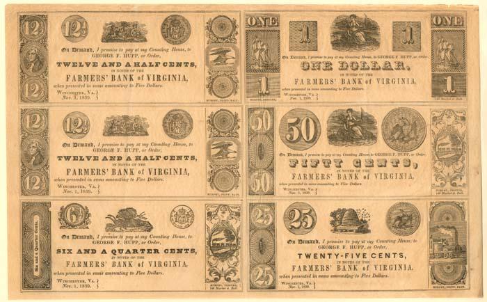 Farmers' Bank of Virginia - Uncut Obsolete Sheet - Broken Bank Notes - SOLD