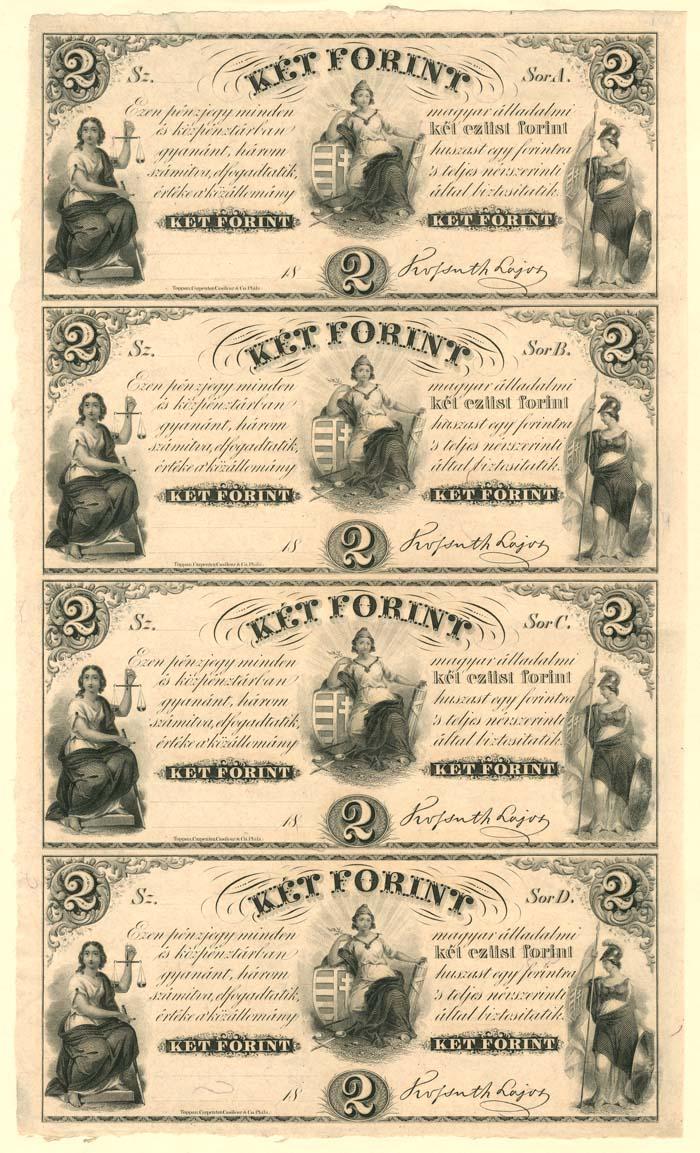 Ket Forint - Uncut Obsolete Sheet - Broken Bank Notes - SOLD