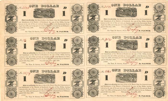 District of Southwark - Uncut Obsolete Sheet - Broken Bank Notes