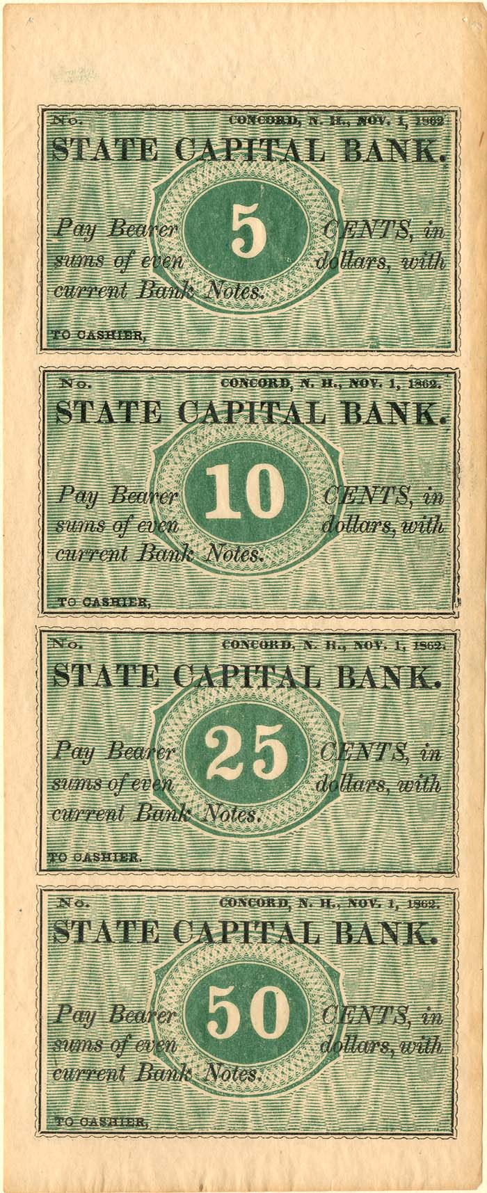 State Capital Bank - Uncut Obsolete Sheet - Broken Bank Notes - SOLD