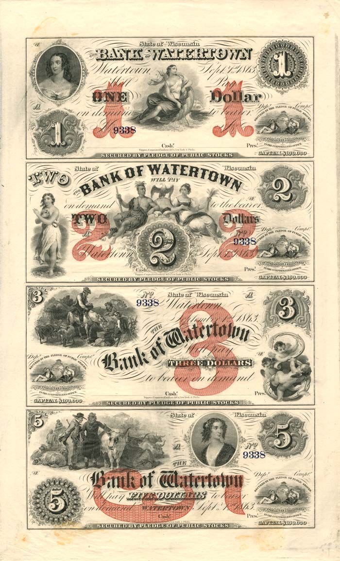 Bank of Watertown - Uncut Obsolete Sheet - Broken Bank Notes