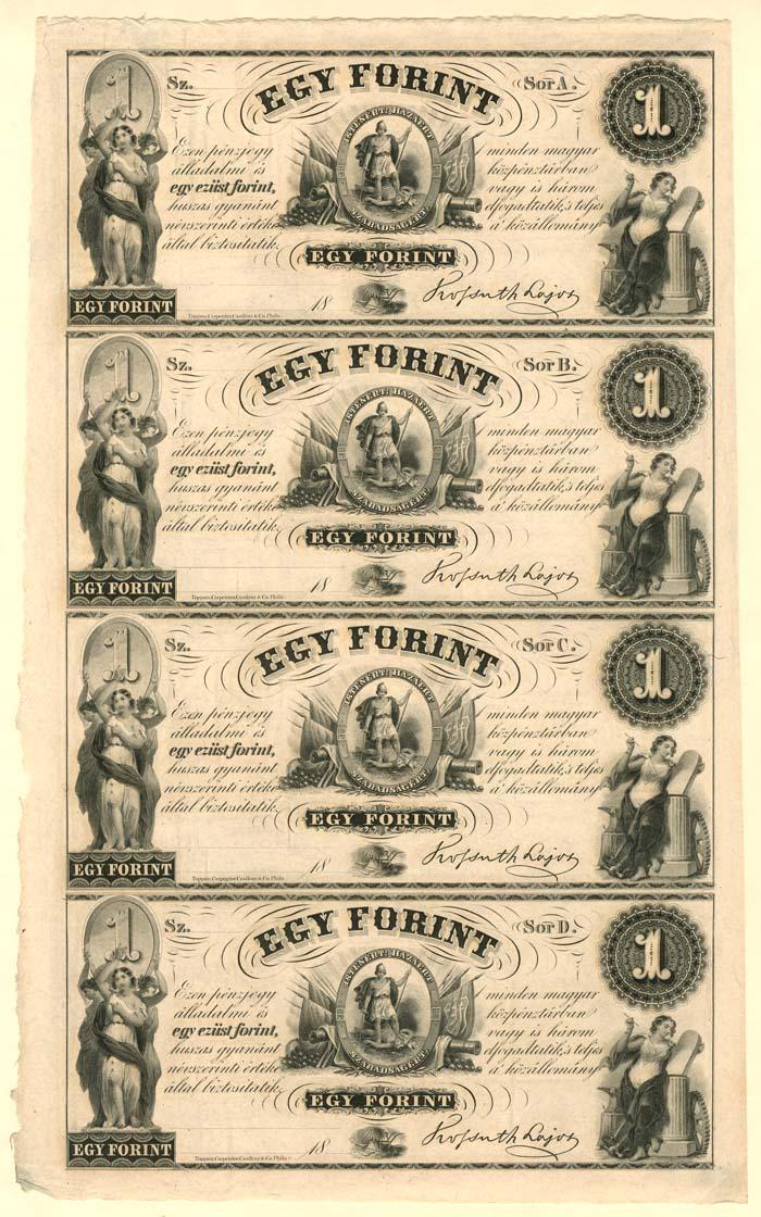 Egy Forint - Hungary - Uncut Obsolete Sheet - Broken Bank Notes