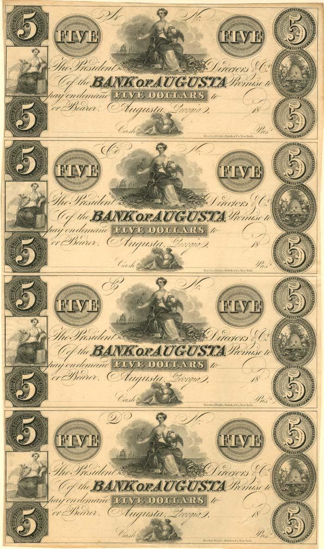 Bank of Augusta - Uncut Obsolete Sheet - Broken Bank Notes