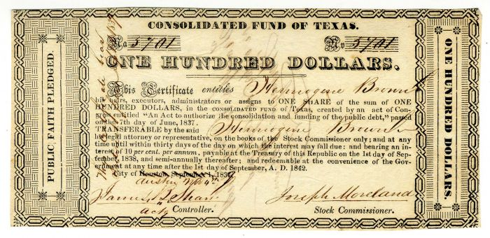 Consolidated Fund of Texas - SOLD