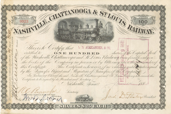James D. Porter - Nashville, Chattanooga and St. Louis Railway - Stock Certificate