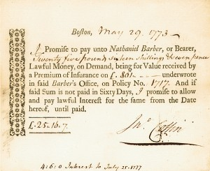 1773 Insurance Promissory Note - SOLD