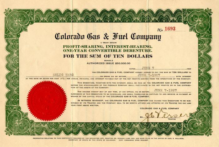 Colorado Gas & Fuel Company - Stock Certificate