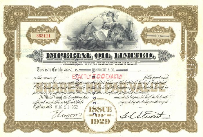 Imperial Oil Ltd - Stock Certificate - SOLD