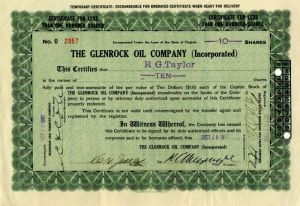 Glenrock Oil Company (Incorporated) - Stock Certificate