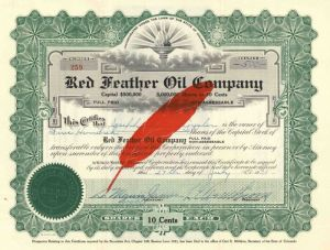 Red Feather Oil Company - Stock Certificate