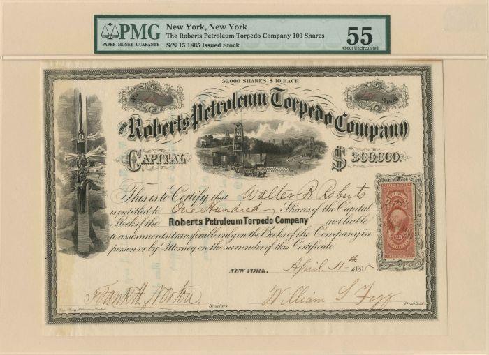 Roberts Petroleum Torpedo Company - Stock Certificate