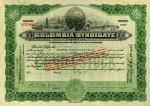 Colombia Syndicate - Stock Certificate