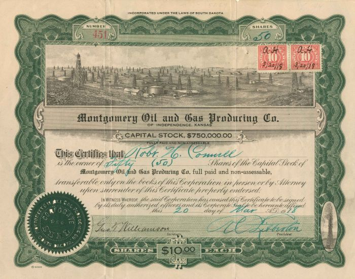 Montgomery Oil and Gas Producing Co. - Stock Certificate