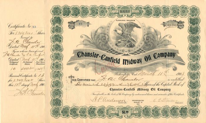 Chanslor=Canfield Midway Oil Company - Stock Certificate