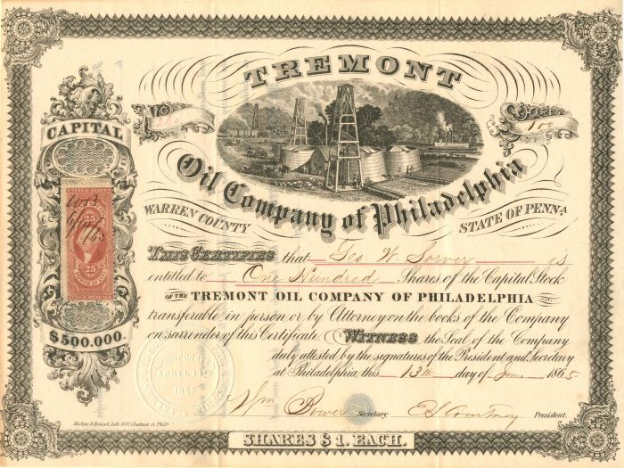 Tremont Oil Company of Philadelphia - Stock Certificate