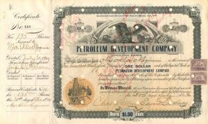 Petroleum Development Company signed by president Edward Doheny - Stock Certificate