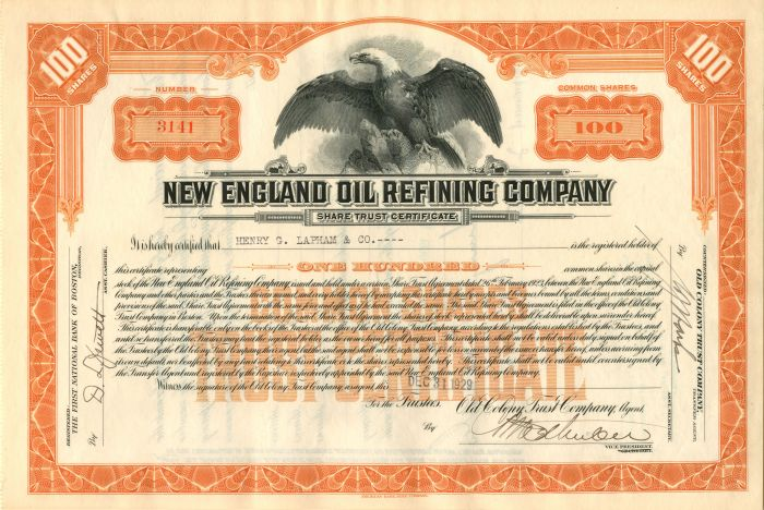 New England Oil Refining Company - Stock Certificate