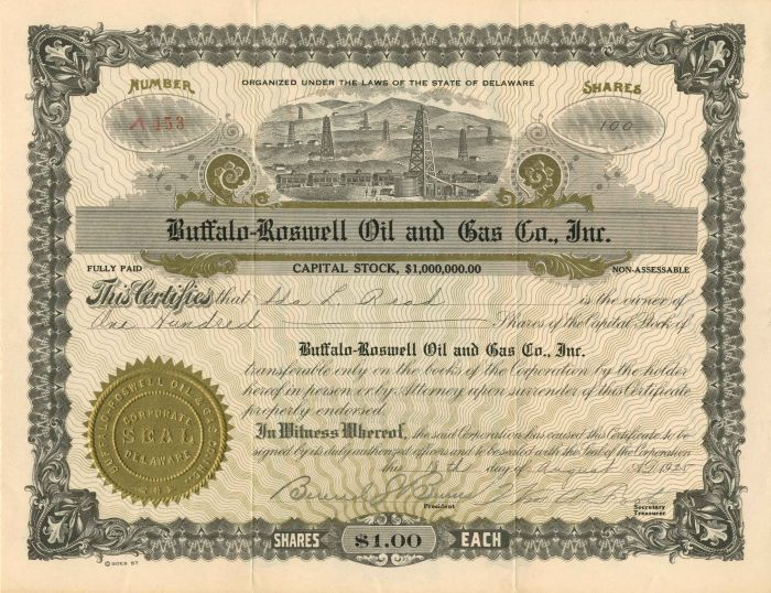 Buffalo-Roswell Oil and Gas Co., Inc. - Stock Certificate