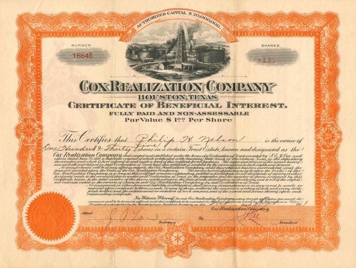 Cox Realization Company - Stock Certificate