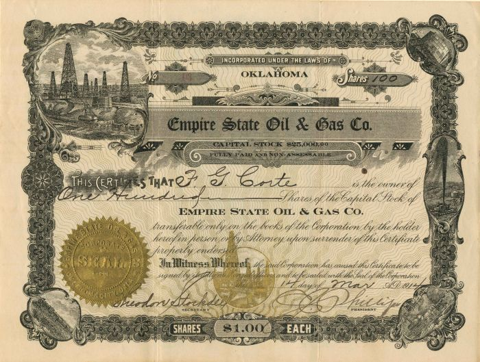 Empire State Oil & Gas Co. - Stock Certificate