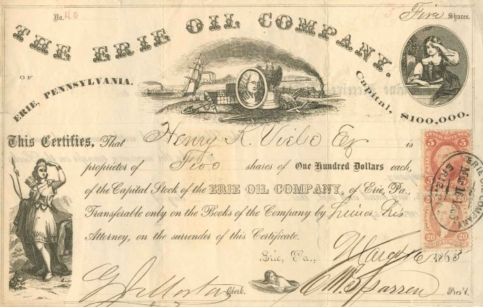 Erie Oil Company - Stock Certificate