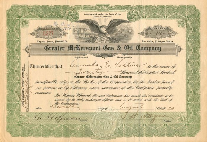 Greater McKeesport Gas & Oil Company - Stock Certificate - SOLD