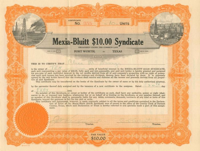 Mexia-Bluitt $10.00 Syndicate - Stock Certificate