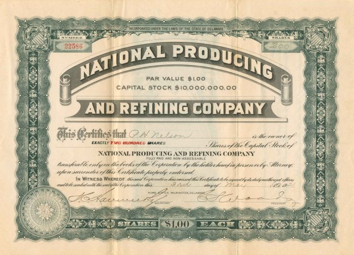 National Producing and Refining Company - Stock Certificate