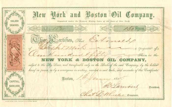New York and Boston Oil Company - Stock Certificate