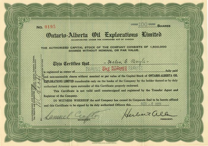 Ontario-Alberta Oil Explorations Limited - Stock Certificate
