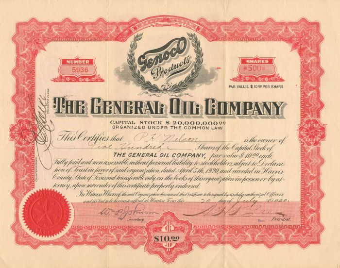 General Oil Company - Stock Certificate