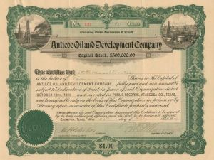 Anticoe Oil and Development Company - Stock Certificate